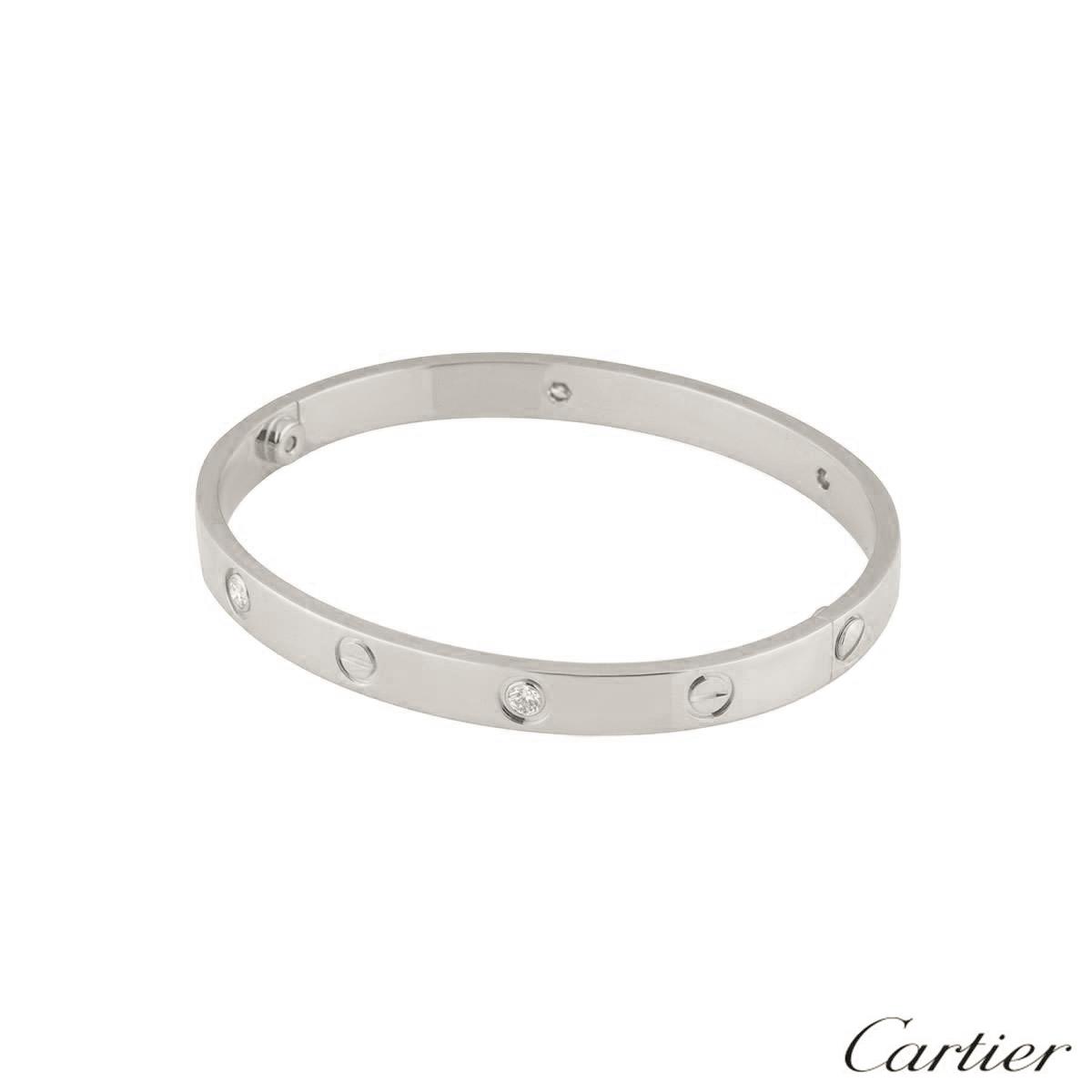 Cartier White Gold Half Diamond Love Bracelet Size 18 B6035818